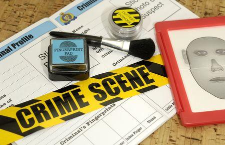 escena del crimen: La escena del crimen objetos relacionados con - la delincuencia concepto de laboratorio