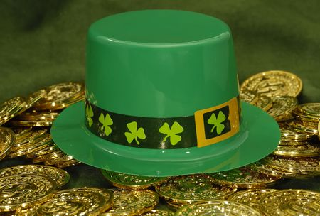 Photo of a Green Leprechaun Hat and Gold Coins - St. Patricks Day Object