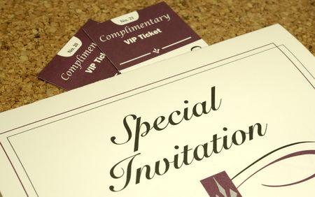 Foto de una invitación y 2 entradas - Parte relacionados  Foto de archivo - 805560