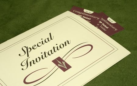 Photo of an Invitation and 2 Tickets - Party Related
