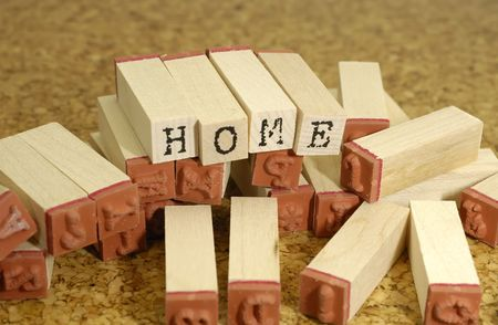 typeset: Photo Rubberstamps Spelling The Word Home - Typeset