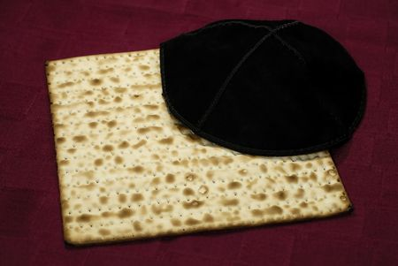 Photo of Matzo and a Yamaka - Jewish  Passover Related