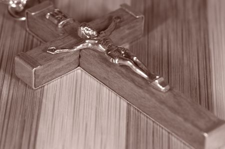 Photo of a Crucifix in Sepia Tone - Religion Related Stock Photo