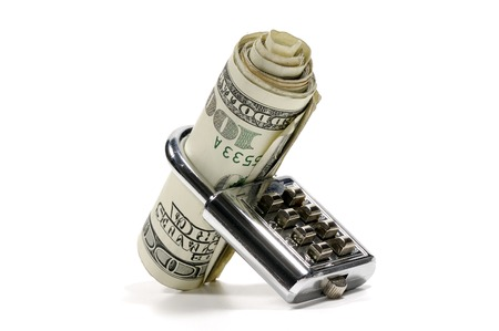 Photo of a Lock and Money - Banking Concept Stock Photo