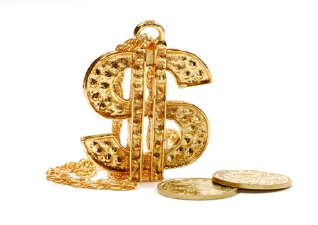 Photo of a Gold Dollar Symbol Pendant  Charm and Gold Coins - Finance Concept