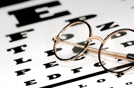 heathcare: Photo of Eyeglasses on a Eye Chart - Optometry Concept
