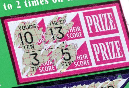 lottery: Foto van een bekraste loterij Ticket Stockfoto