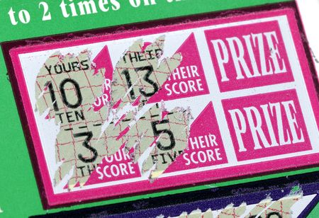 lottery win: Photo of a Scratched Lottery Ticket Stock Photo
