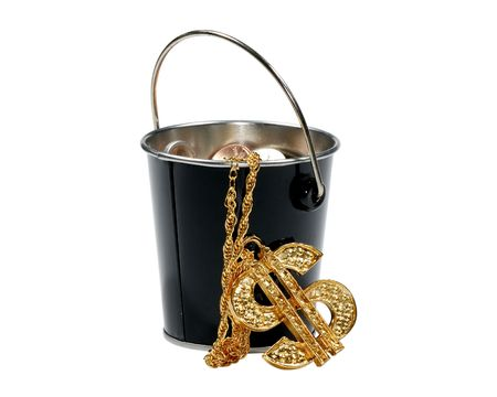 bucket of money: Photo of a Bucket With Money - Finance Concept