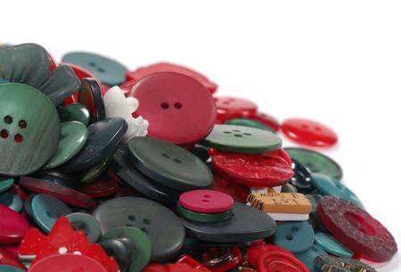 빨강 및 녹색 단추 - 크리스마스 배경 사진 스톡 콘텐츠