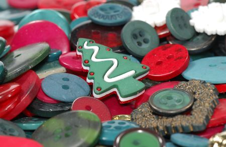 Photo of Red and Green Buttons - Christmas Background Stockfoto
