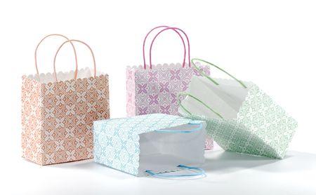 다양 한 색 쇼핑백 - 선물 가방의 사진