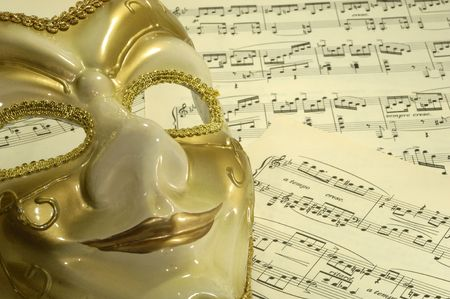 Photo of a Mask on Sheetmusic - Opera / Theater Concept