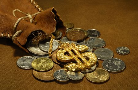 Photo of a Leather Sack and Money - Money Related Concept Stockfoto