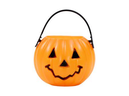 Isolated Pumpkin Basket / Candy Bucket - Halloween Related Object Stockfoto