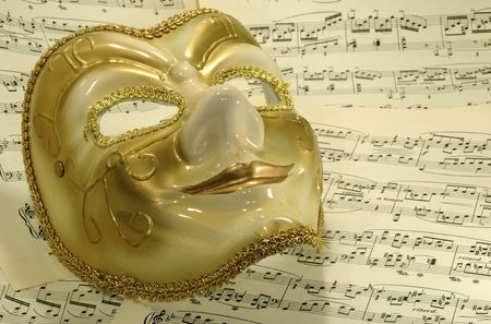 sheetmusic: Photo of a Mask on Sheetmusic - Opera  Theater Concept
