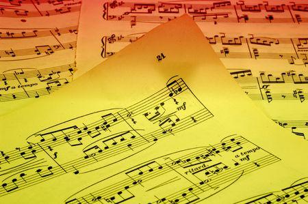 Photo of Sheetmusic With Gel Lighting - Sheetmusic Background Stockfoto