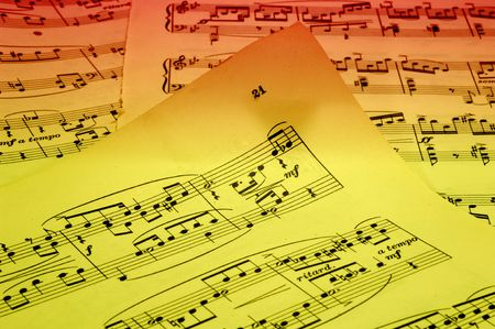 sheetmusic: Photo of Sheetmusic With Gel Lighting - Sheetmusic Background Stock Photo