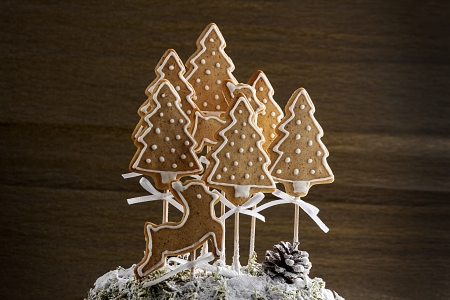 Sweet gingerbread cookies with deer, trees and brown background. photo