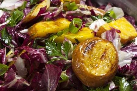 grilled potato: It's a very tasty grilled potato salad. Stock Photo