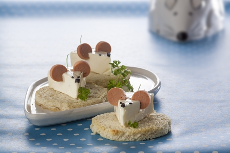 Mouse shape sandwiches with cheese and weenie photo