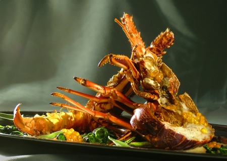 Crayfish with vegetables and olive green  photo