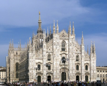 One of the largest Gothic cathedrals of the world, the Duomo Square, Milan, Italy photo