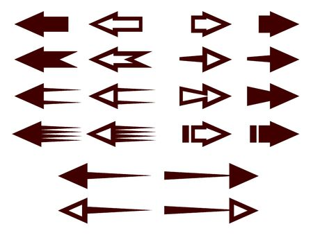 Arrows and pointers. Guide signs and symbols. Indicate the direction of travel. Reference point. Signs on the wall, on a post or map. Target designation. Turn left, right. Vector illustration. Isolate
