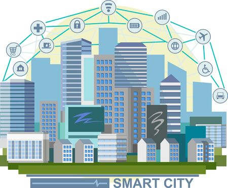 Smart cities concept. Technologies, business. Vector illustration. Modern industrial. City future. Comfort, safety, automation. City landscape. Blue cityscape. Convenient place for living and business Illustration