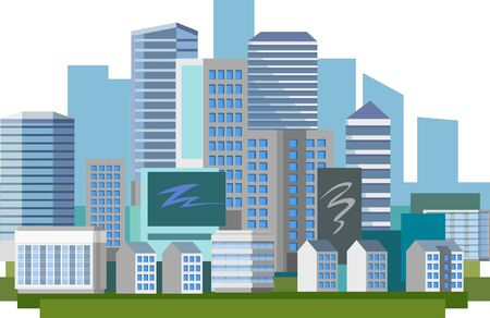 Big modern city in the afternoon. Day Skyscrapers Blue distance, horizon. City streets. A city for a happy life, successful work, profitable business. Blue design. Vector illustration. Background