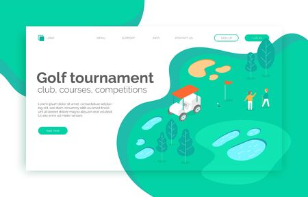 Golf tournament, courses, competition, school web site, landing page, presentation, layout, app, banner. Isometric vector illustration with man playing golf on the field with trees, lakes, sand car