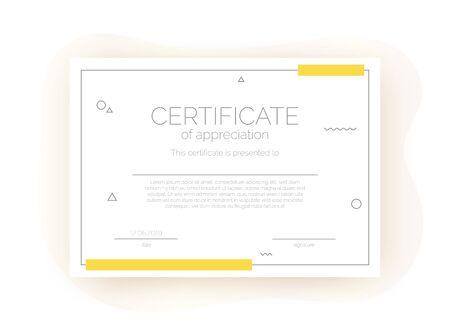 Certificate template for business, courses, competition in abstract minimalism style. Trendy diploma layout, blank Stock Illustratie