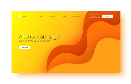 Landing page gradient waves background, banner for presentation, web site. 일러스트