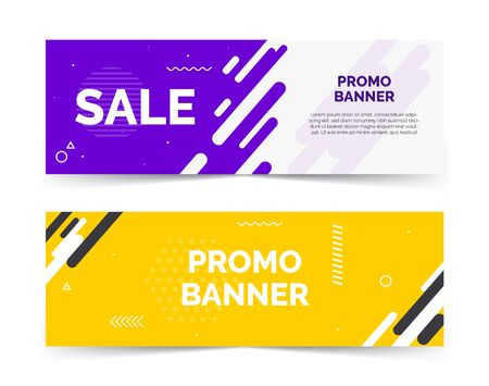 Sale banners with text space, abstract elements, waves,purple and yellow color  イラスト・ベクター素材