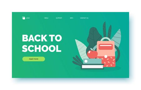 Back to school landing page background, banner for presentation, web site, internet store, shop. Poster with text space, school supplies including backpack, book, apple, plants
