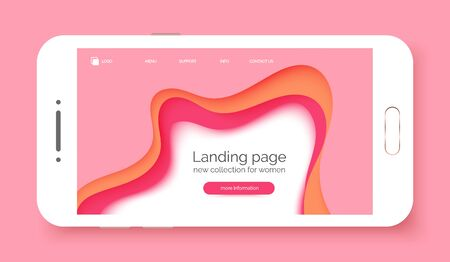 Landing page gradient waves background, banner for presentation, web site, business. Abstract poster with text space, abstract futuristic shapes. Landing page for women store, shop, internet shopping