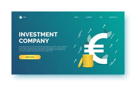 Landing page, background, banner for presentation, web site. Poster with text space, abstract futuristic shapes, euro sign, coins, growth arrows. Template for invest company, investment, business