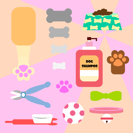 The dog tools illustration on pink background.