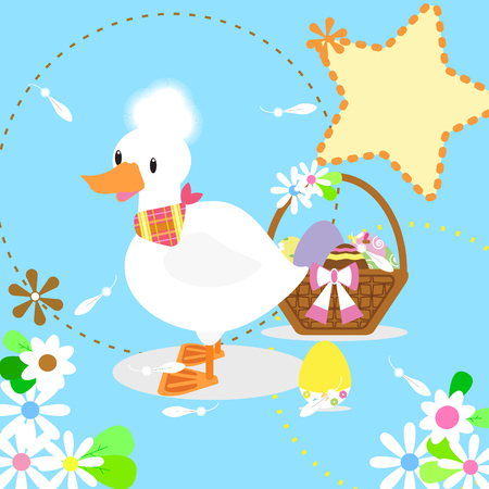 The white duck and eggs 向量圖像