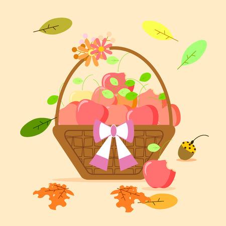 the apple fruit in basket Illustration