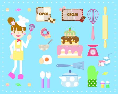 cooking bakery set Illustration