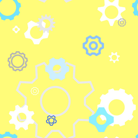 seamless gear repeat pattern in yellow background