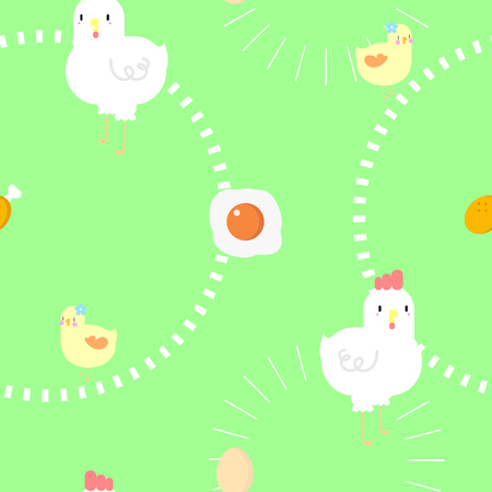seamless chicken and egg repeat pattern in green background Illustration