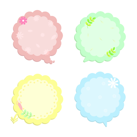 colorful sweet speech bubble text box thinking set