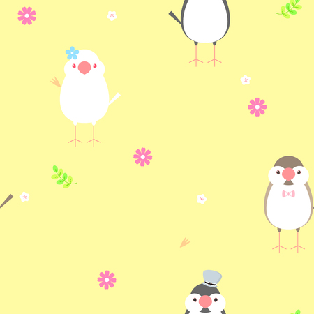 seamless java sparrow bird repeat pattern Illustration