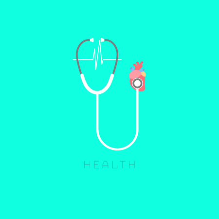 Human heart and health care in blue background