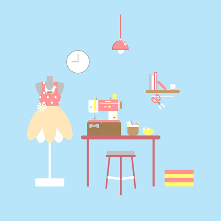 dressmaker and tailor with sewing item in blue background