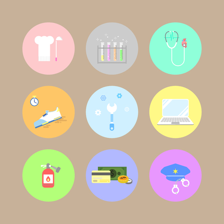 career occupation job work professional circle icon button set flat  illustration design isolated