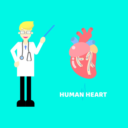 medical internal organs body part nervous system anatomy surgery human heart and stethoscope healthcare  label icon concept with pulse heartbeat background,flat vector illustration cartoon design Illustration