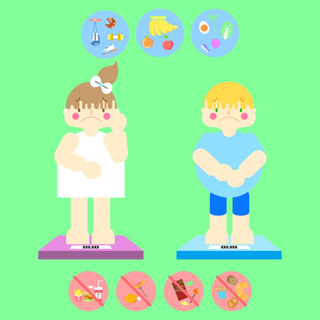 cute girl and boy,fat overweight female and male concept of health care. infographic background. flat vector illustration. Illustration